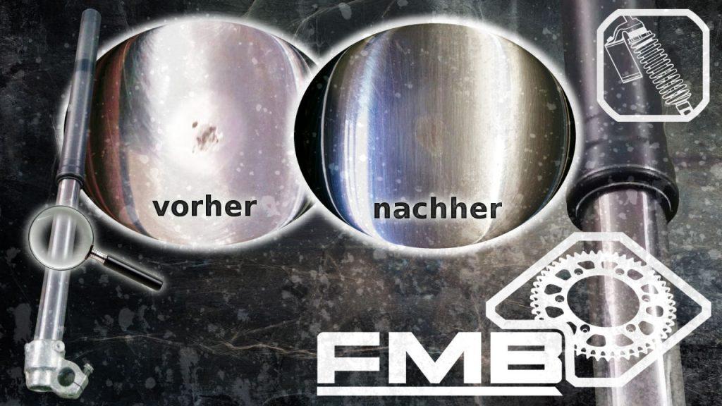 KTM Husaberg Husqvarna Beta GasGas Tauchrohr Gabelholm steinschlag polieren reparieren lasern undicht wegen steinschlag Tauchrohr Steinschlag Reparatur